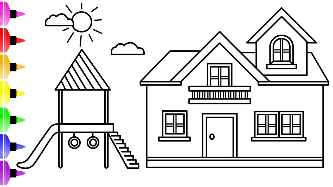 How To Draw A House With Children Slide For Kids Coloring Page For Kids Coloring Pages Coloring Pages For Kids Coloring For Kids