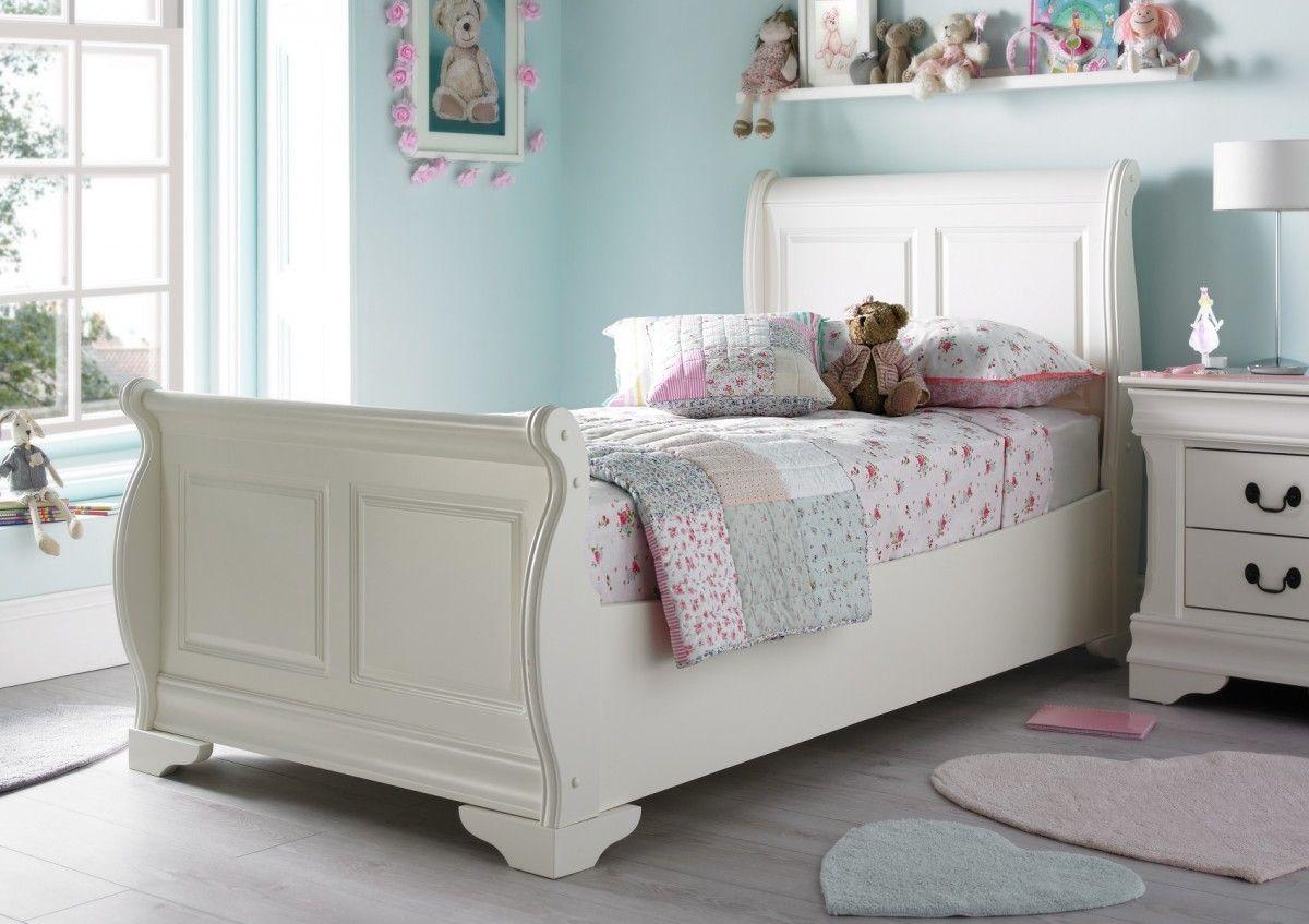 Louie Solo Sleigh Bed - Polar White   White sleigh bed ...