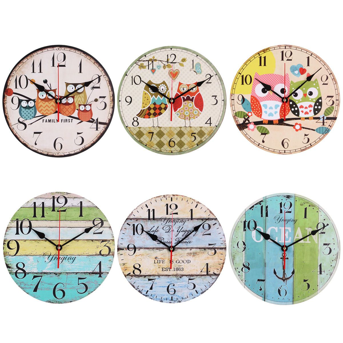 Vintage retro nautical anchor owl wooden wall clock art clock home vintage retro nautical anchor owl wooden wall clock art clock home nursery decor amipublicfo Images