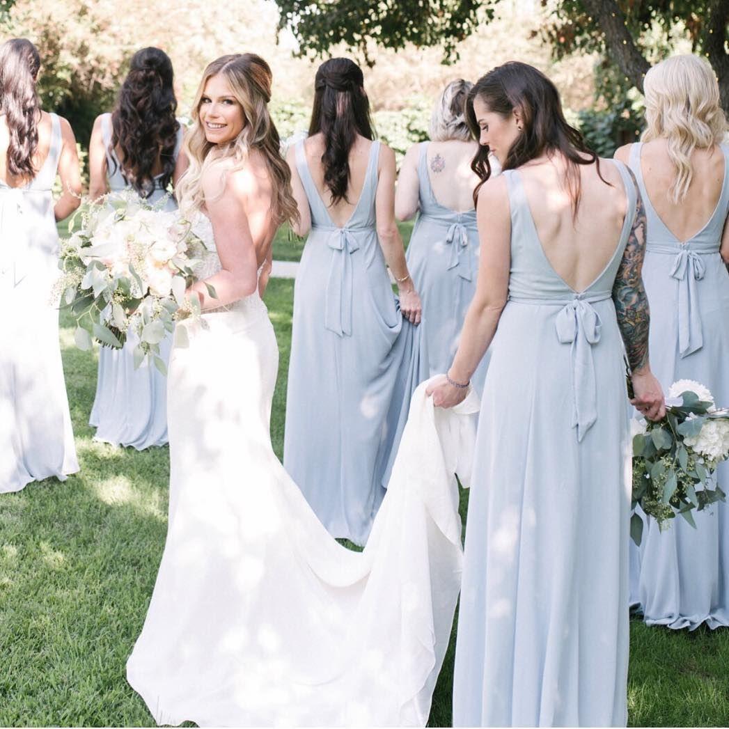 4d5662c24ed8 Babe with her besties in Steel Blue Jenn Maxi Dresses #mumuweddings ...