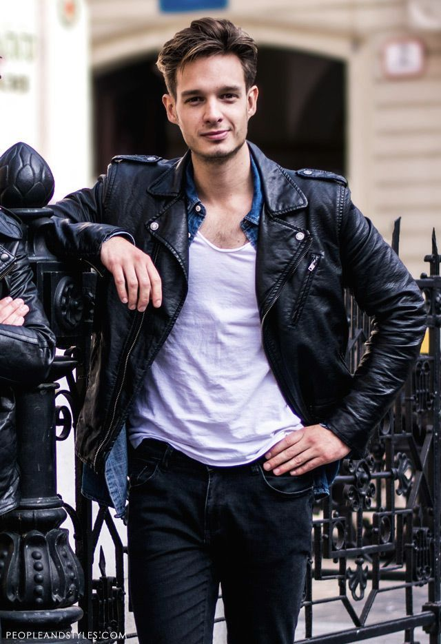 76caa89702 Pin by Lookastic on Men's Leather Jackets | Black leather biker ...