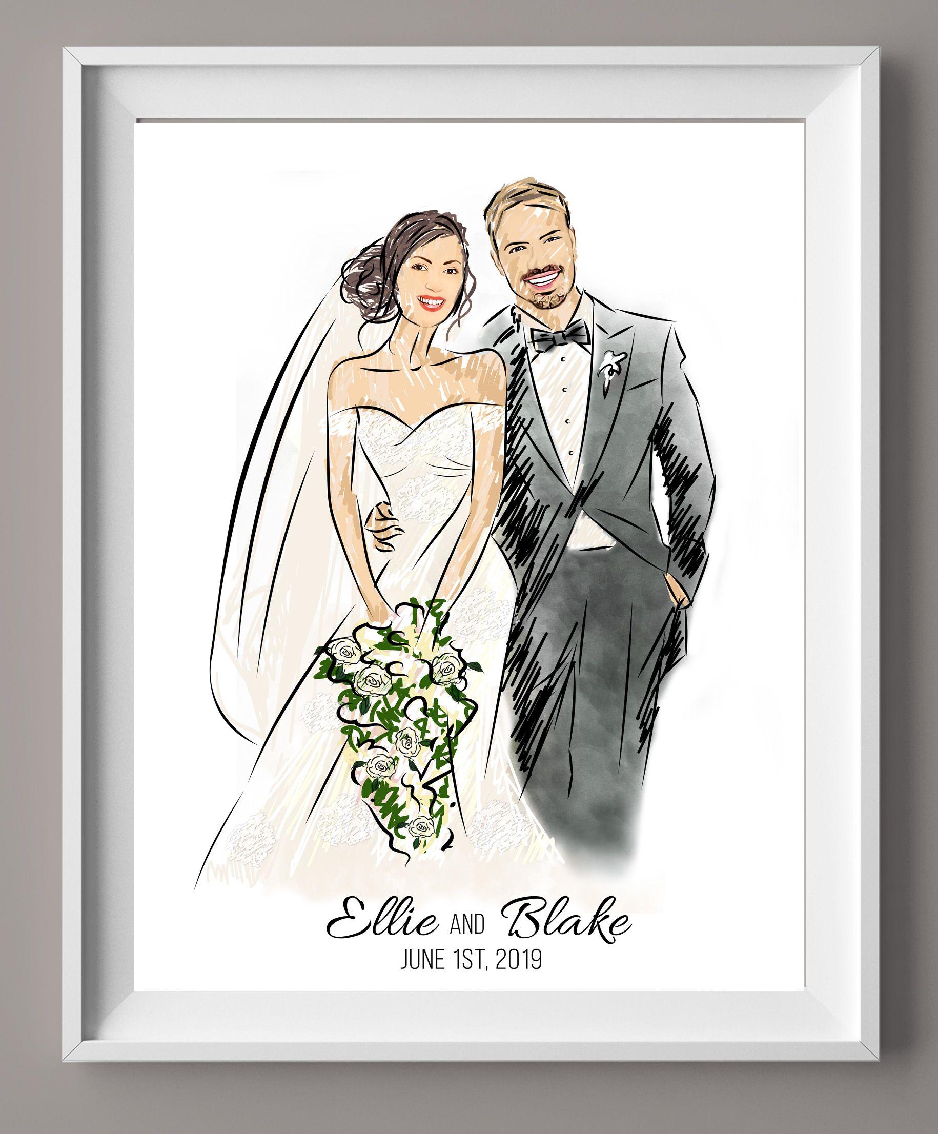 Illustrated Wedding Portrait Wedding Illustration Guest Book