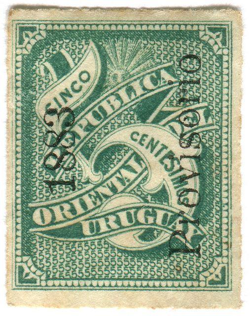 Uruguay postage stamp: cinco by karen horton, via Flickr