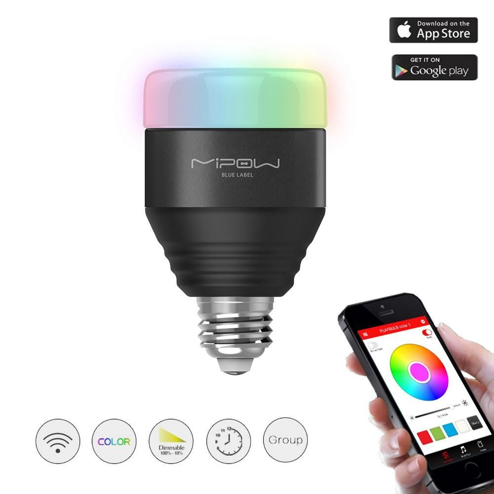 mipow bluetooth smart led light bulbs app smartphone group controlled dimmable color changing decorative christmas party