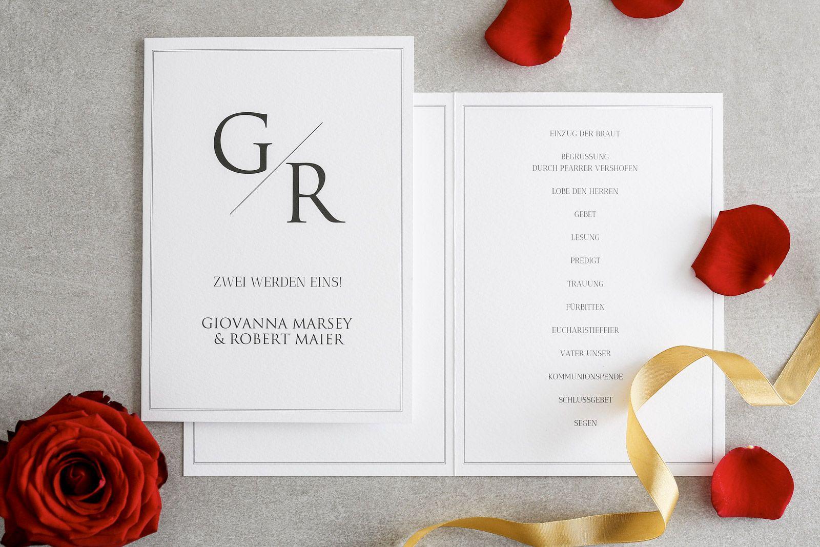 Wenn Ihr Euch Fur Eine Kirchliche Trauung Entschieden Habt Empfiehlt Es Sich Den Ablauf Der Zeremonie In Einem Kirch Hochzeitslogos Kirchenheft Karte Hochzeit