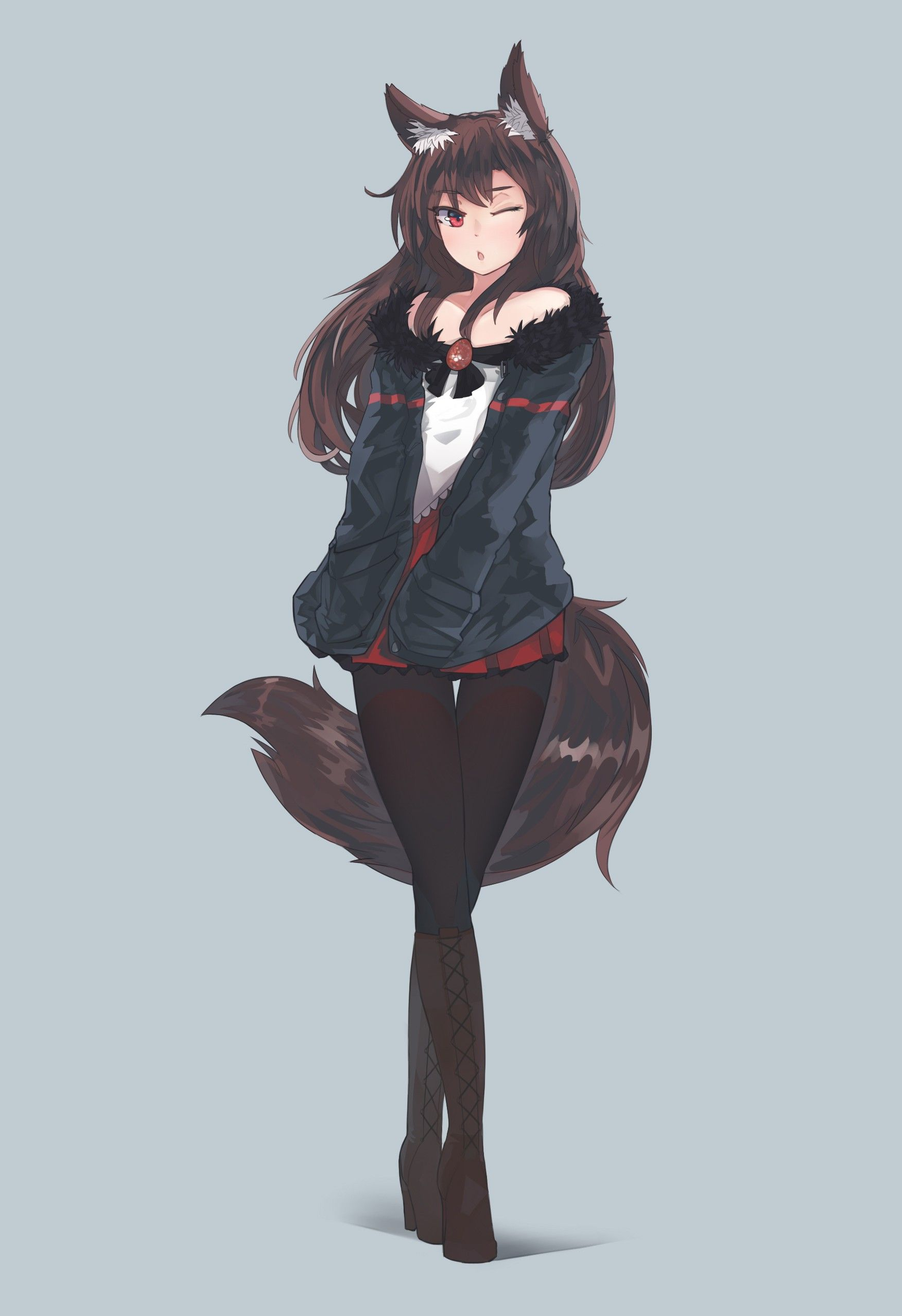 Anime 1752x2556 anime anime girls imaizumi kagerou tail long hair animal ears red eyes brunette skirt touhou