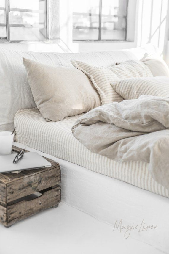 Photo of Linen bedding set in Natural Linen (Oatmeal) color (duvet cover + 2 pillowcases). US King, Queen.