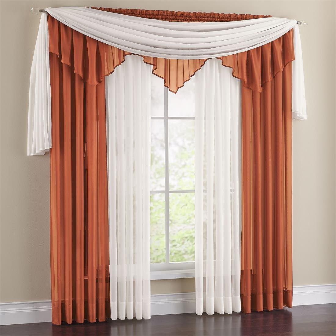 Vista Sheer 288 Inch Scarf Valance Curtain Designs Scarf