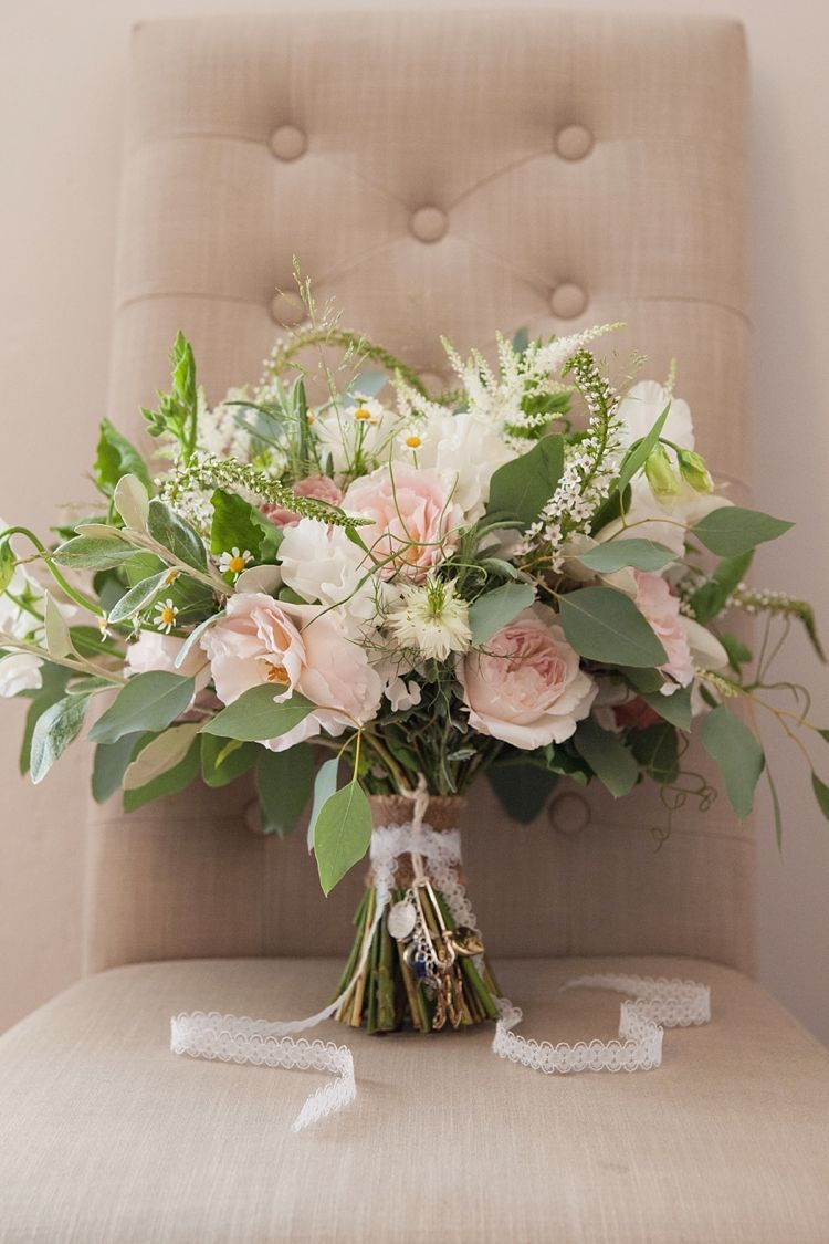 Large Bouquet Bride Bridal Flowers Roses Foliage Pink Rustic Tipi