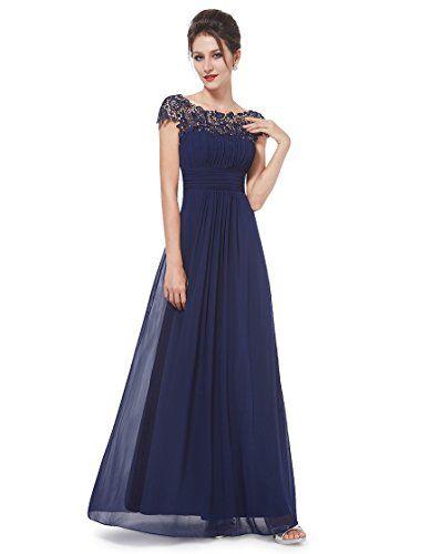 Ever Pretty Womens Lacey Long Chiffon Evening Dress 6 US Navy Blue ...