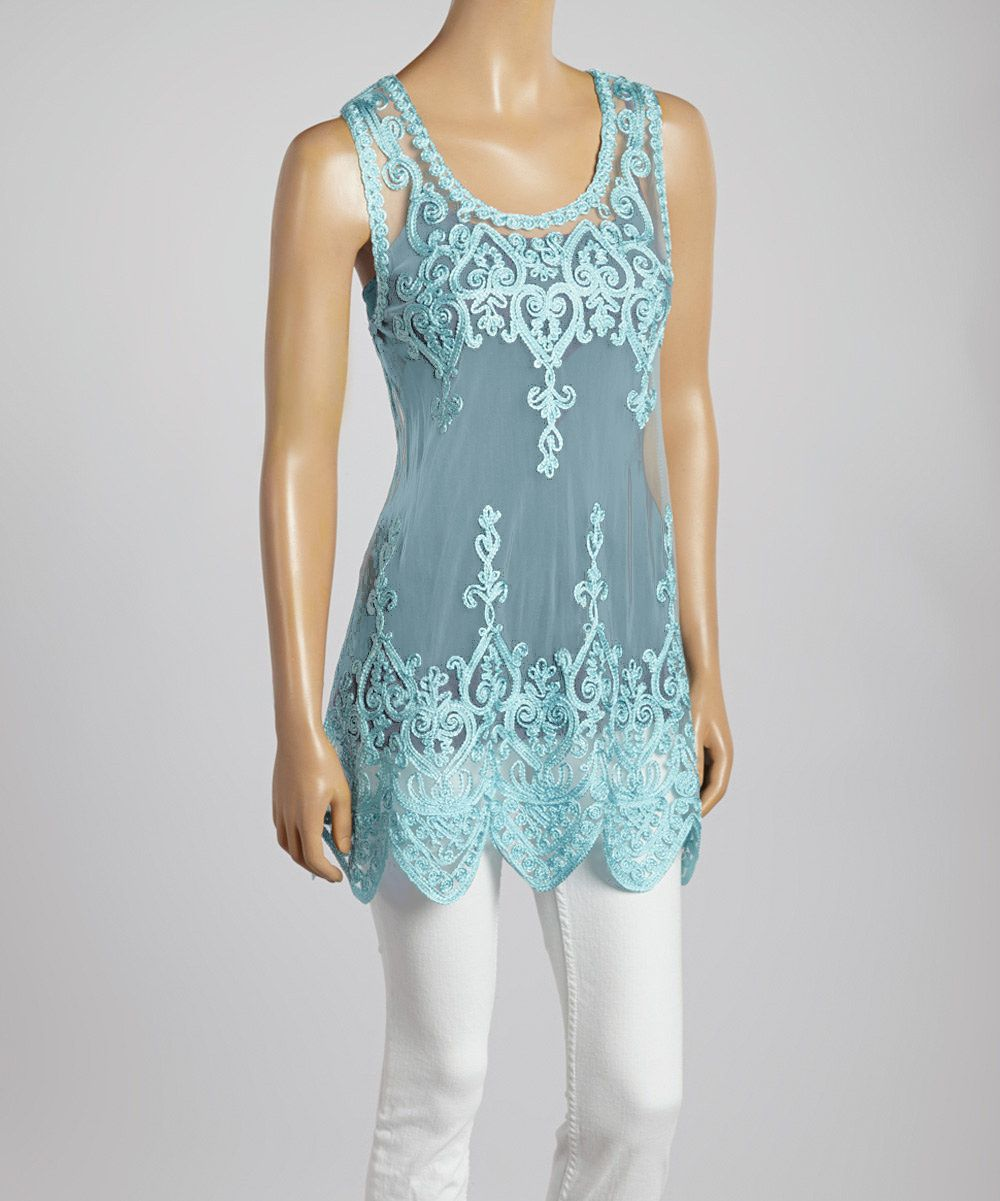 Beautiful Blue Embroidered Lace Silk-Blend Tank