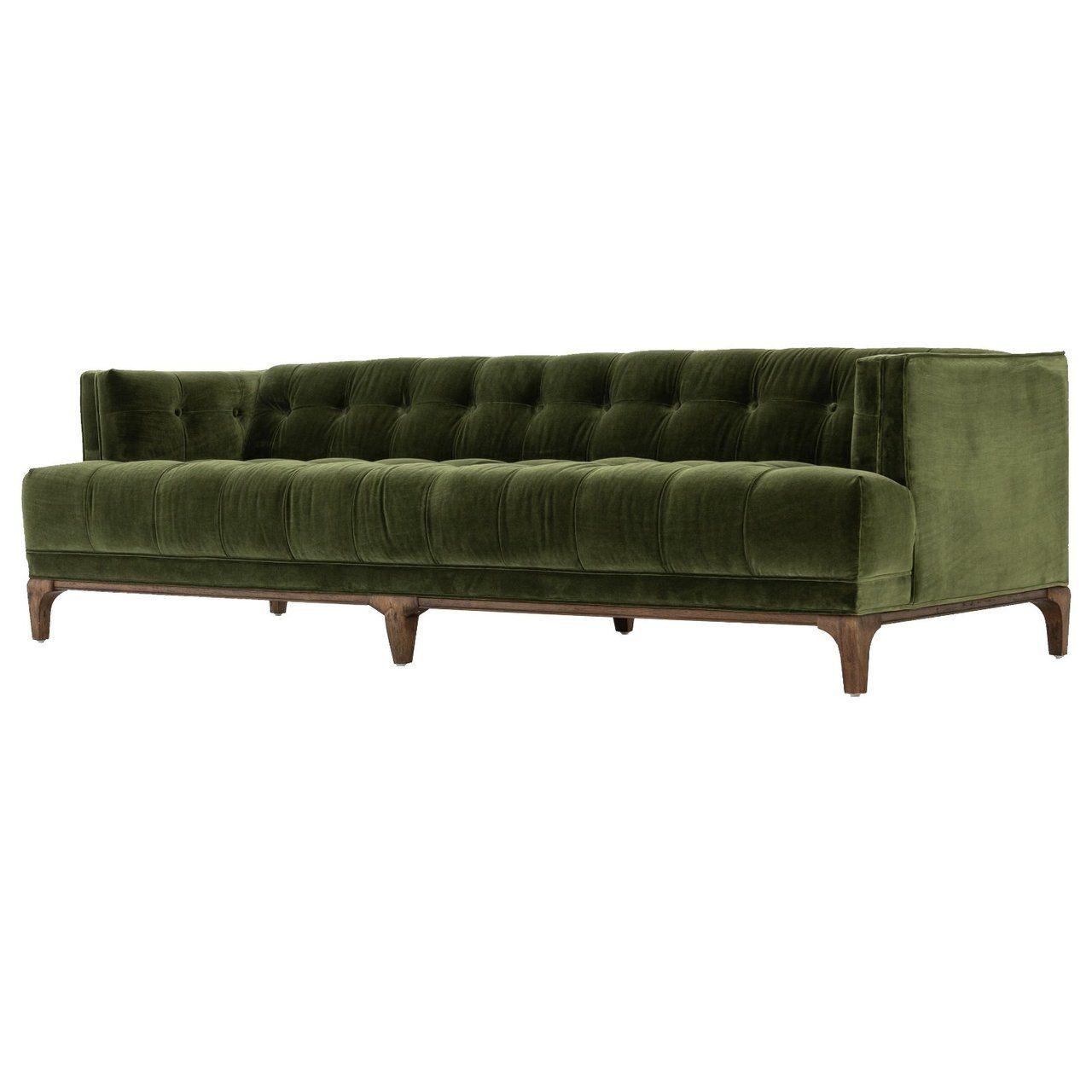 Dylan Mid-Century Modern Olive Green Velvet Tufted Sofa in ...