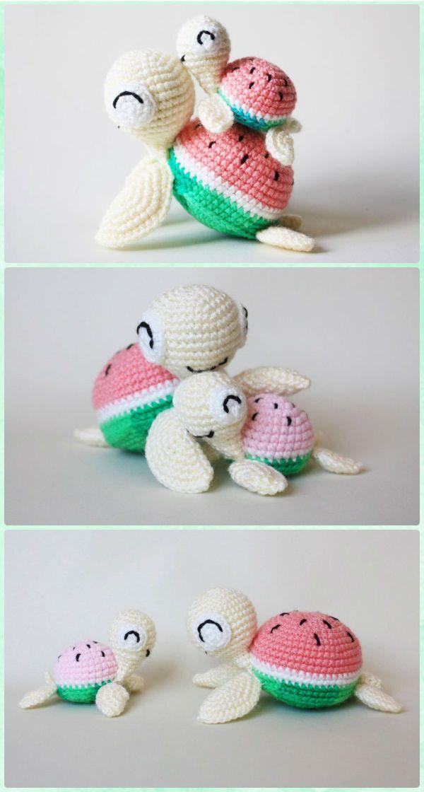 Amigurumi Watermelon Turtle Free Pattern - Crochet Sea Animals Free ...