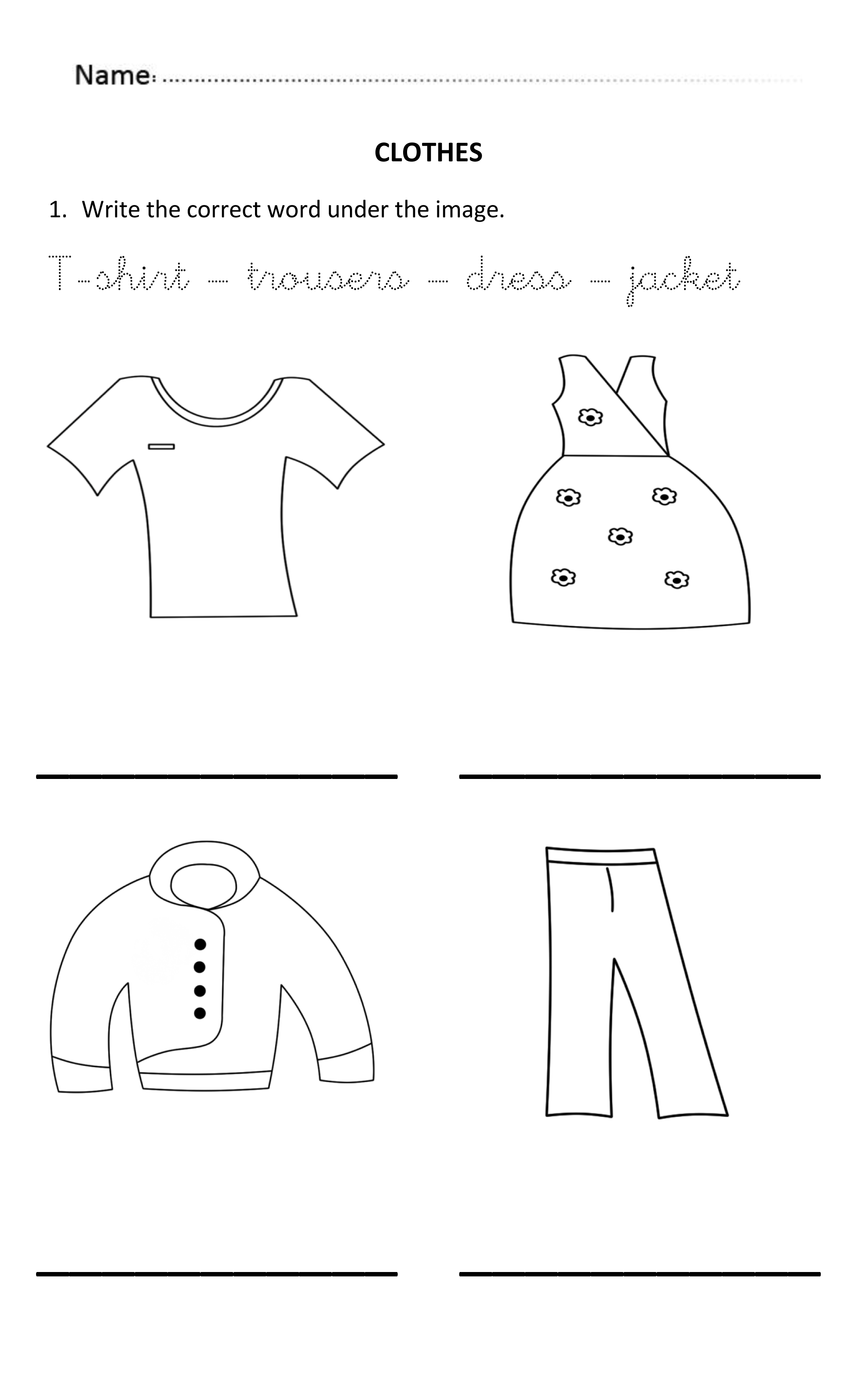 Writing Words About Clothes For 5 And 6 Years Old