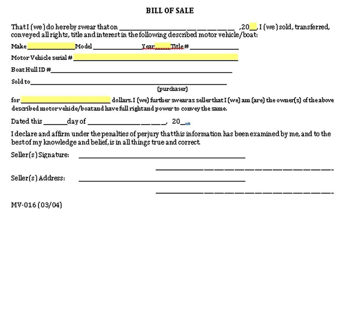 Auto Bill Of Sale Bill Of Sale Template Sell Car Bills
