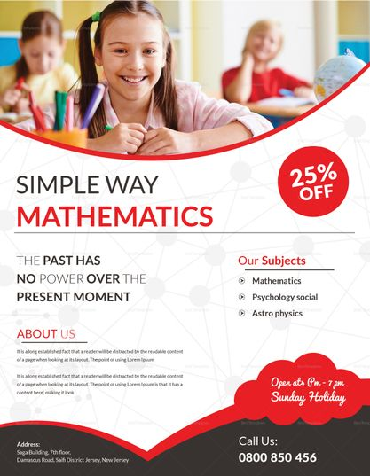 simple math tutoring flyer design template