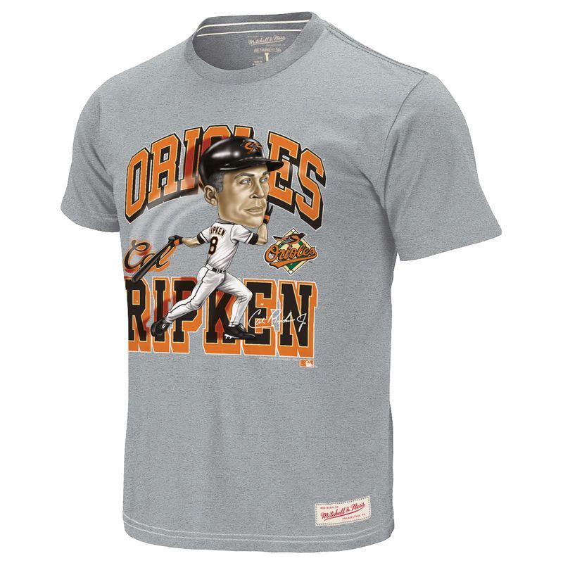 sale retailer e031e fdce6 Cal Ripken Jr. Baltimore Orioles Mitchell   Ness Cooperstown Collection  Caricature T-Shirt - Gray