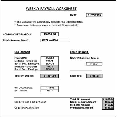 payroll worksheet