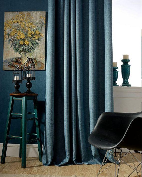 Blue Curtain / Roman Shade Contemporary Style Custom Made Curtains - cortinas azules