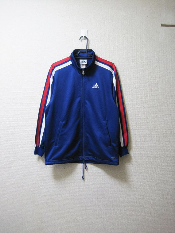 Vintage Adidas Blue Tracksuit Top Track Jacket Sports White Red