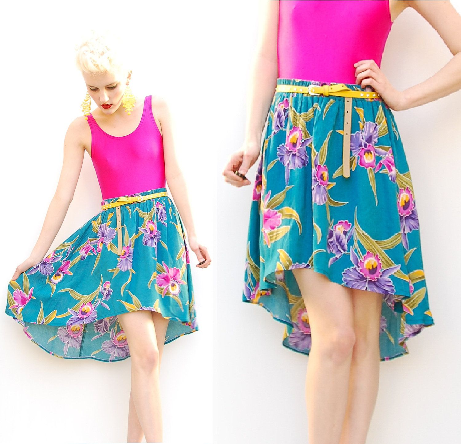 2ff7628c2c 80s High Low Skirt Orchid Floral Skirt Spring by PomPomClothing ...