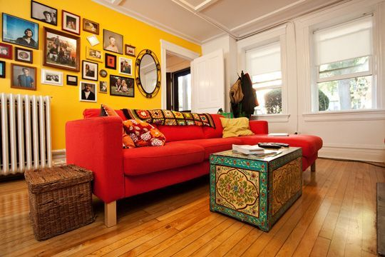Red Couch Yellow Walls Google Search
