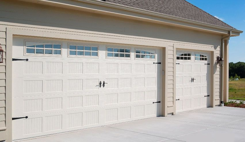 Garage Door   52XX With 4 Piece Arched Stockton Windows, Almond