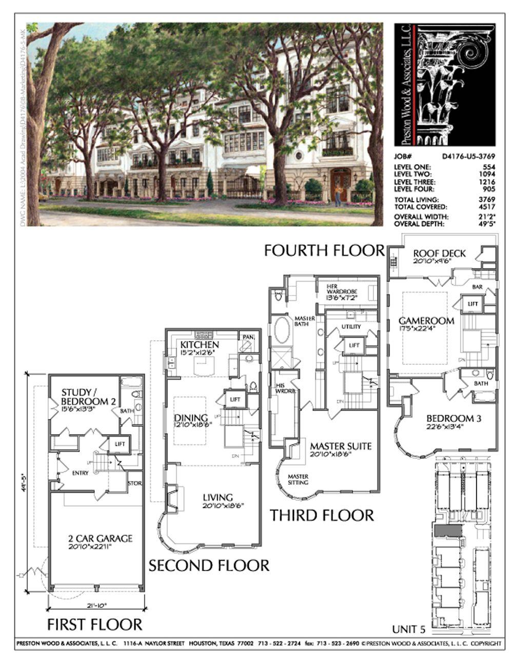 Four Story Townhouse Plan D4176 U5 Townhouse Floor Plans Apartment Floor Plans