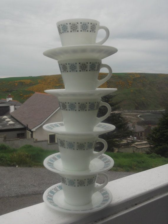 JAJ Pyrex Chelsea pattern 5 Cups and Saucers by RetroRoadonEtsy, £8.00