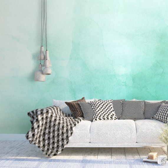 Green, Ombre, Watercolor, Wallpaper, Luxury, Removable