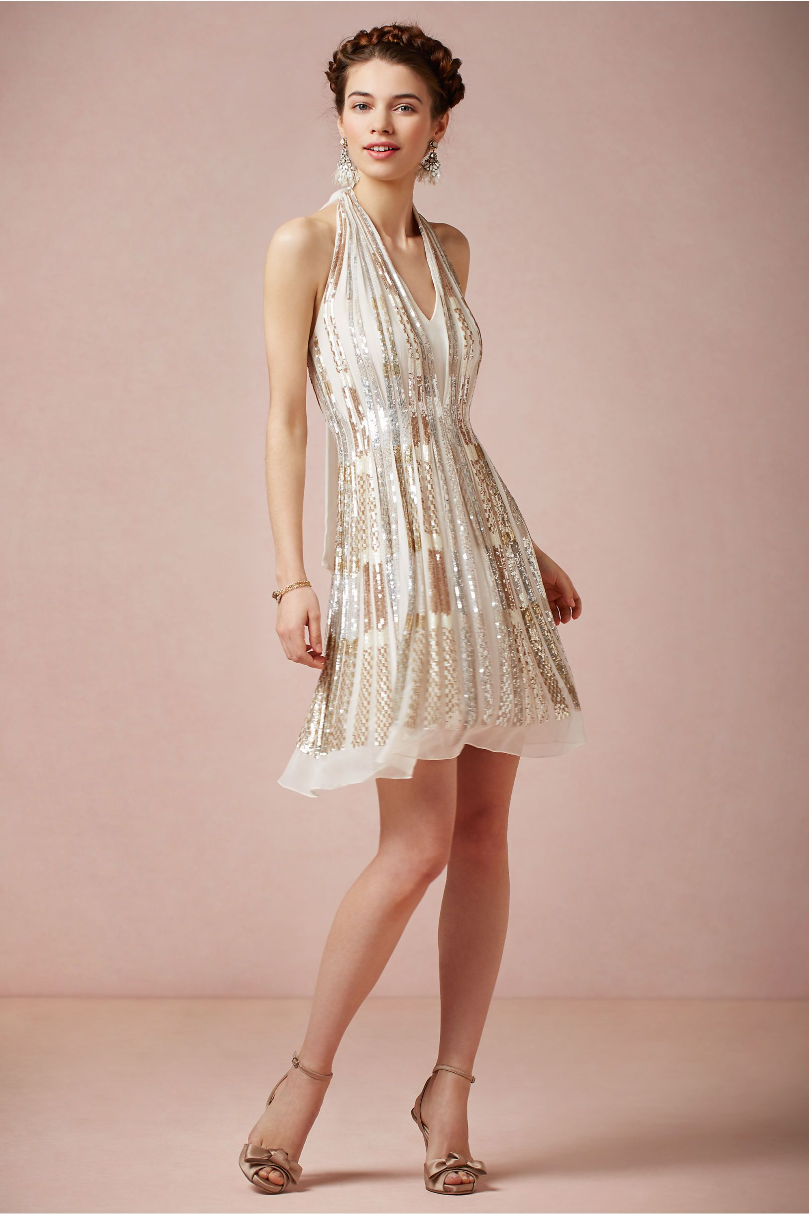 Gatsby Inspired Twila Halter Dress from BHLDN | Embellished Wedding ...
