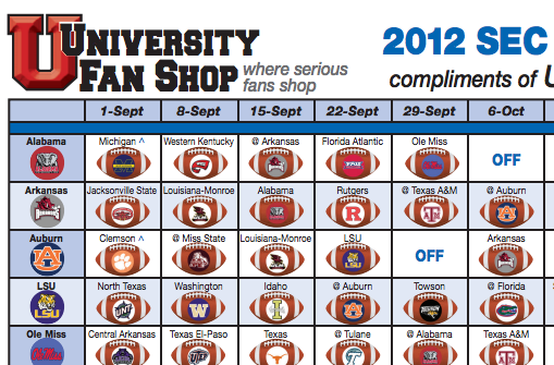 Print your schedules here! 2012 SEC Football Schedule