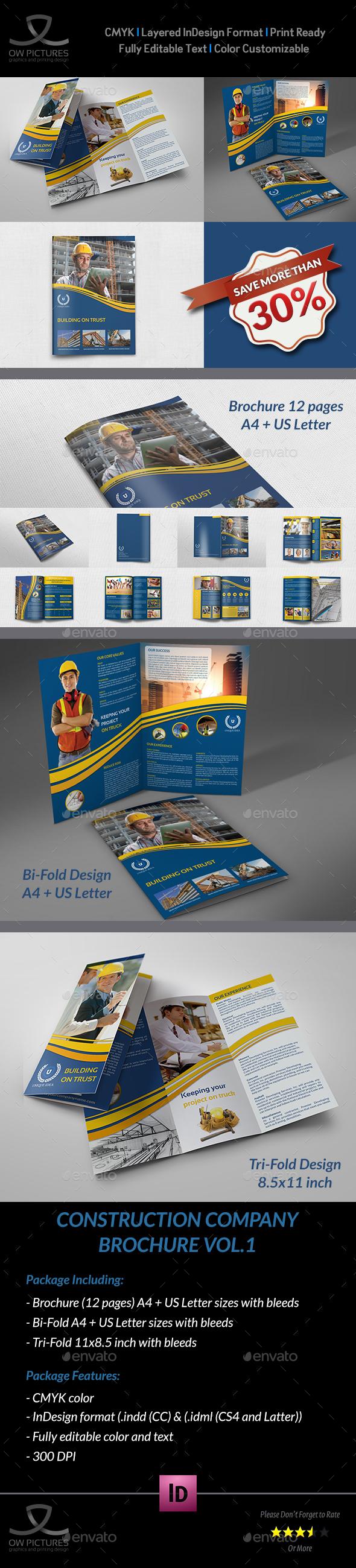 Construction Company Brochure Template Bundle InDesign INDD - Company profile brochure template