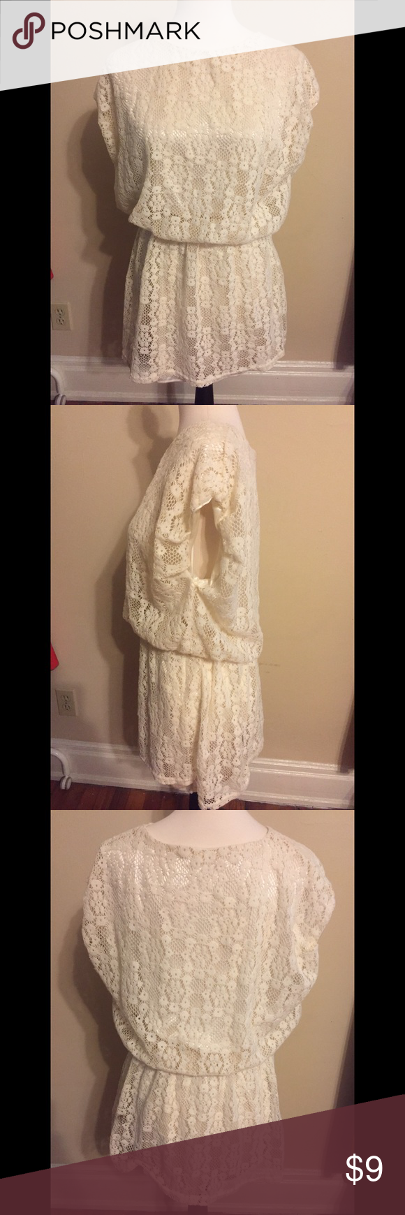 Cream ivory white lace slouchy dress ivory white white lace and
