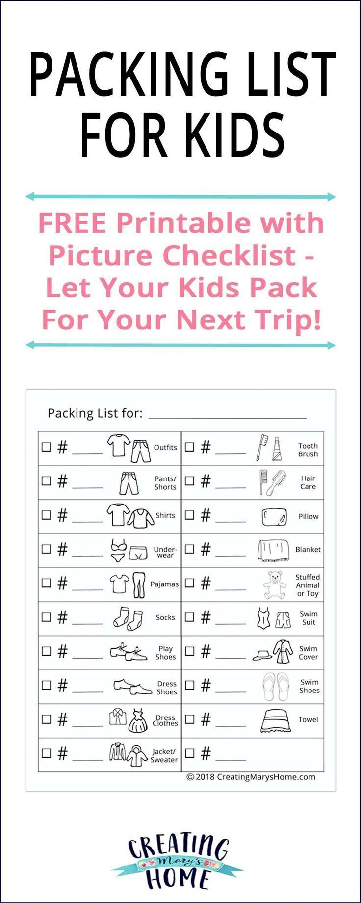 Packing Lists For Kids Budget Travel #collegepackinglist