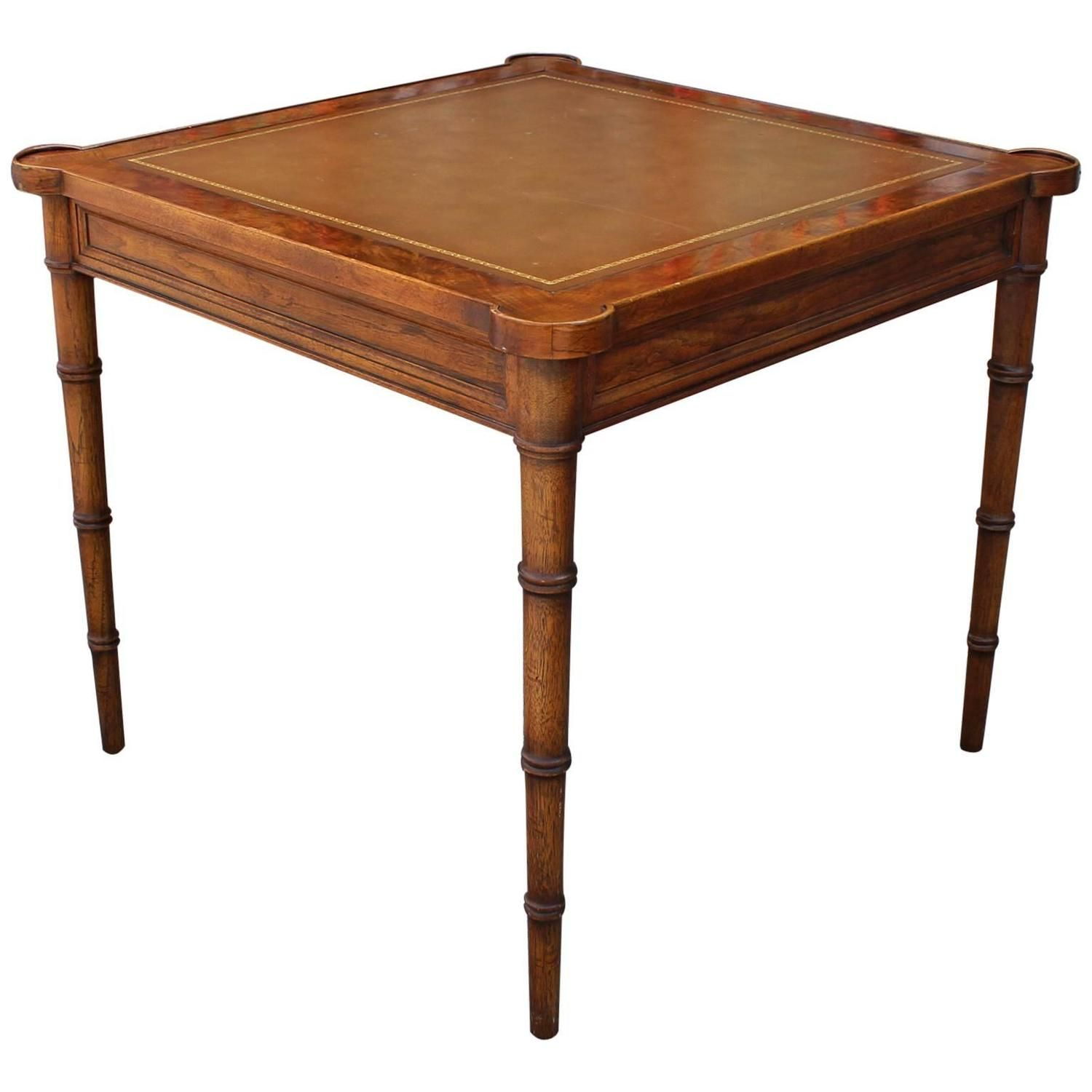 Faux Bamboo And Leather Burl Square Card Table By Drexel Faux Bamboo Square Card Table Cards