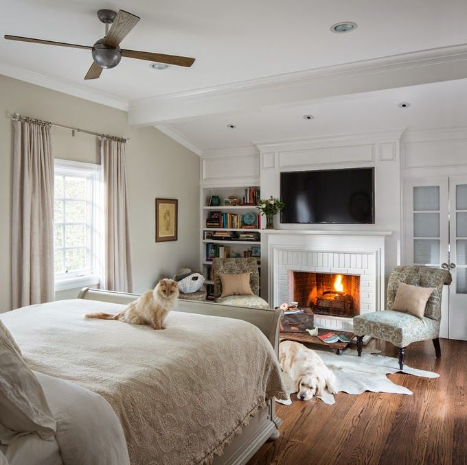 Beau Master Bedroom With Fireplace, TV, Builtins