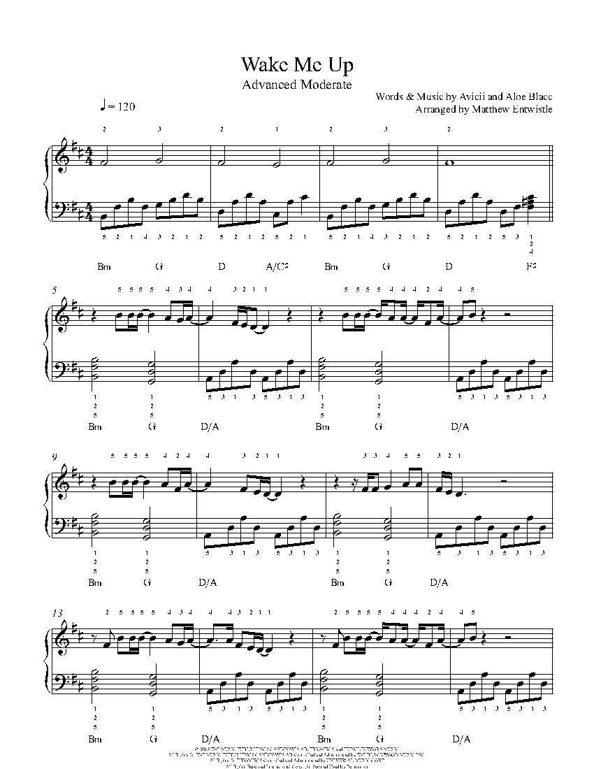 Wake Me Up Piano Sheet Music Easy
