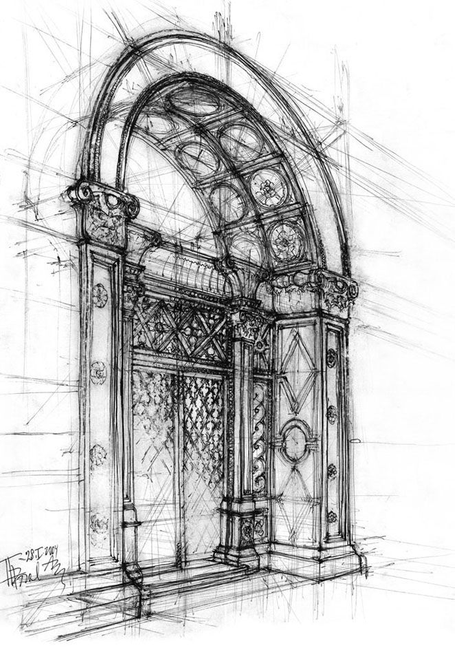Architecture Drawing Class rendering example - notice the details and the use of tonal value