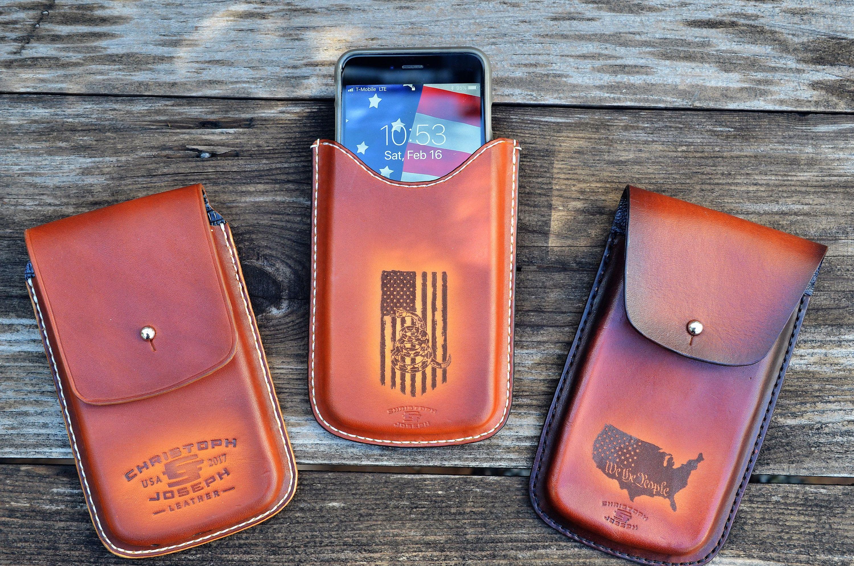 Custom leather smartphone case iphone leather caddie