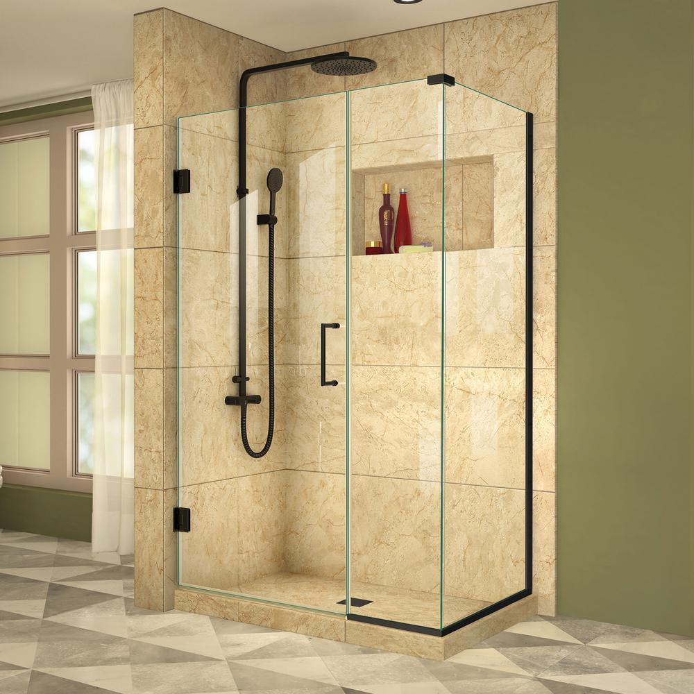 Dreamline Unidoor Plus 39 5 In W X 34 3 8 In D X 72 In H Frameless Hinged Shower Enclosure In Satin Black Shen 24395340 09 Shower Doors Corner Shower Enclosures Frameless Shower Doors