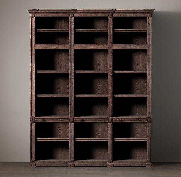 Atkins Triple Bookshelf Wood Shelving Cabinets