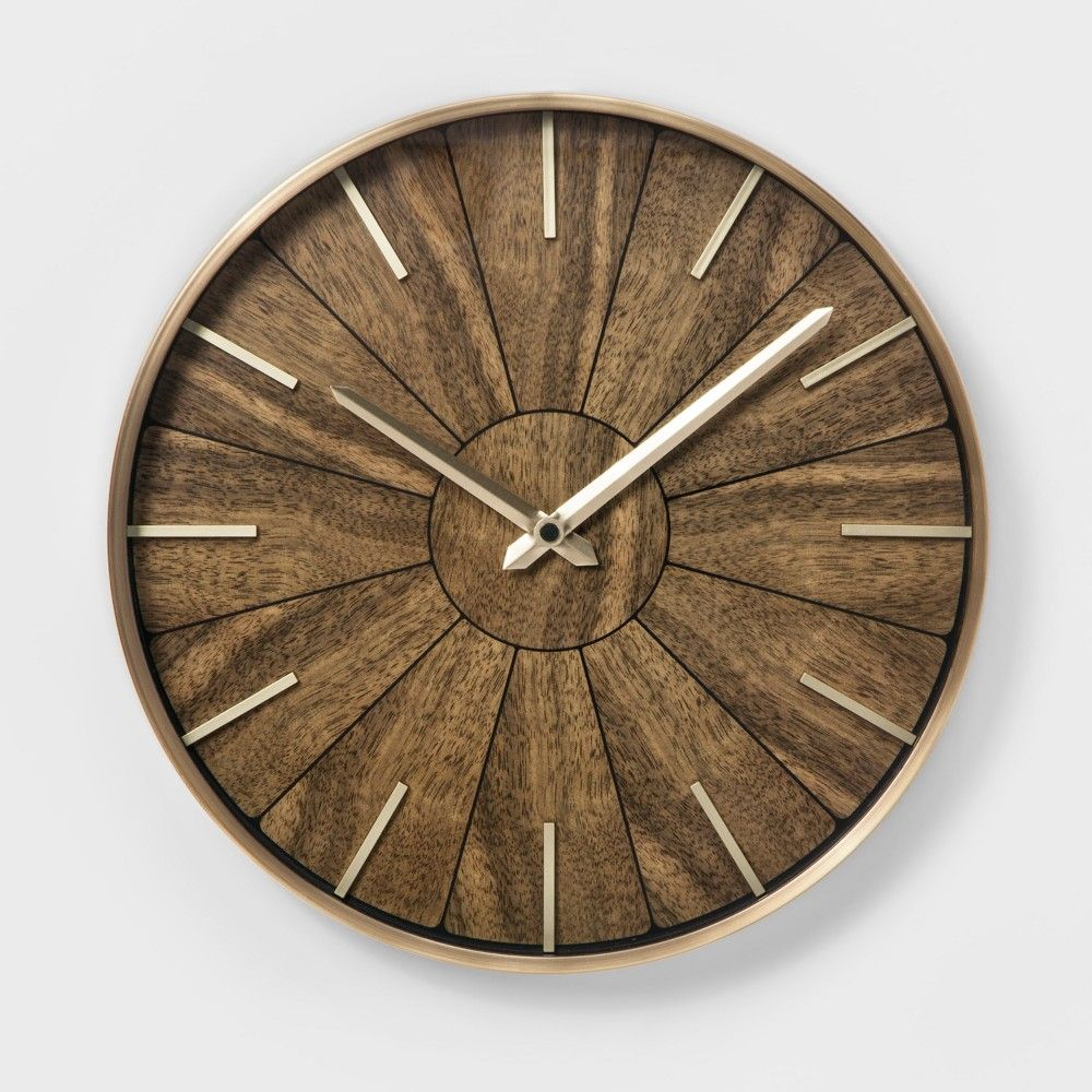 16 Segmented Walnut Brass Wall Clock Brown Project 62 In 2020 Natural Home Decor Wall Clock Clock Decor