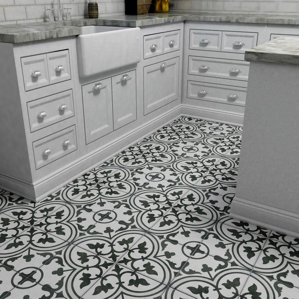 Merola Tile Arte Grey Encaustic 9 3 4 In X 9 3 4 In Porcelain