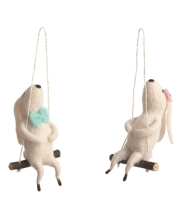 Look at this Bunny on Swing Figurine - Set of Two on #zulily today!