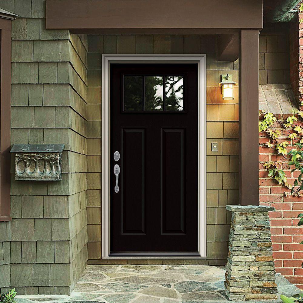 Jeld Wen 32 In X 80 In 3 Lite Craftsman Black Painted Steel Prehung Right Hand Inswing Front Door W Exterior Doors Steel Entry Doors Jeld Wen Exterior Doors