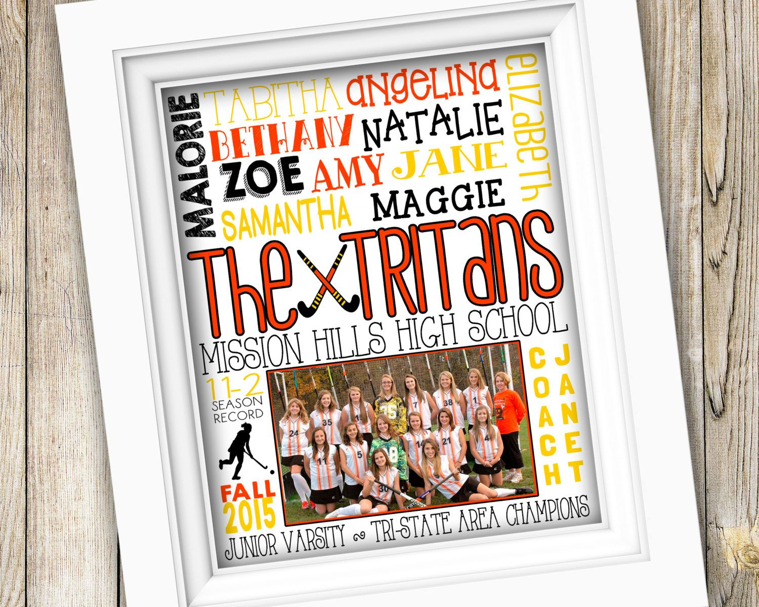 Field Hockey Coach Gift ~ Personalized Custom Printable Team Photo ...