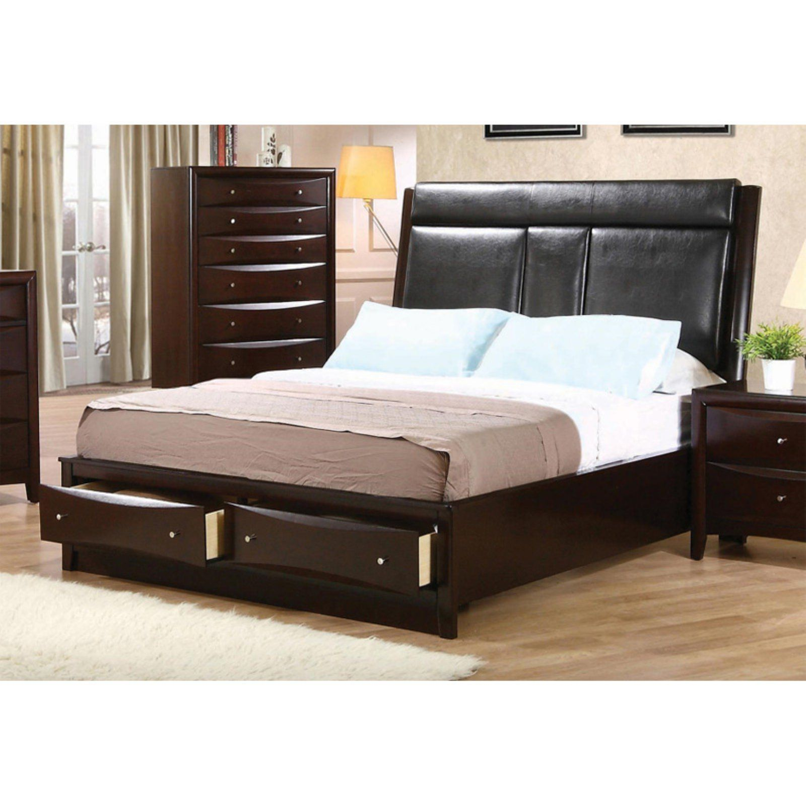 Phoenix Storage Bedroom Set From Coaster 200409: Coaster Furniture Phoenix Upholstered Storage Bed, Size