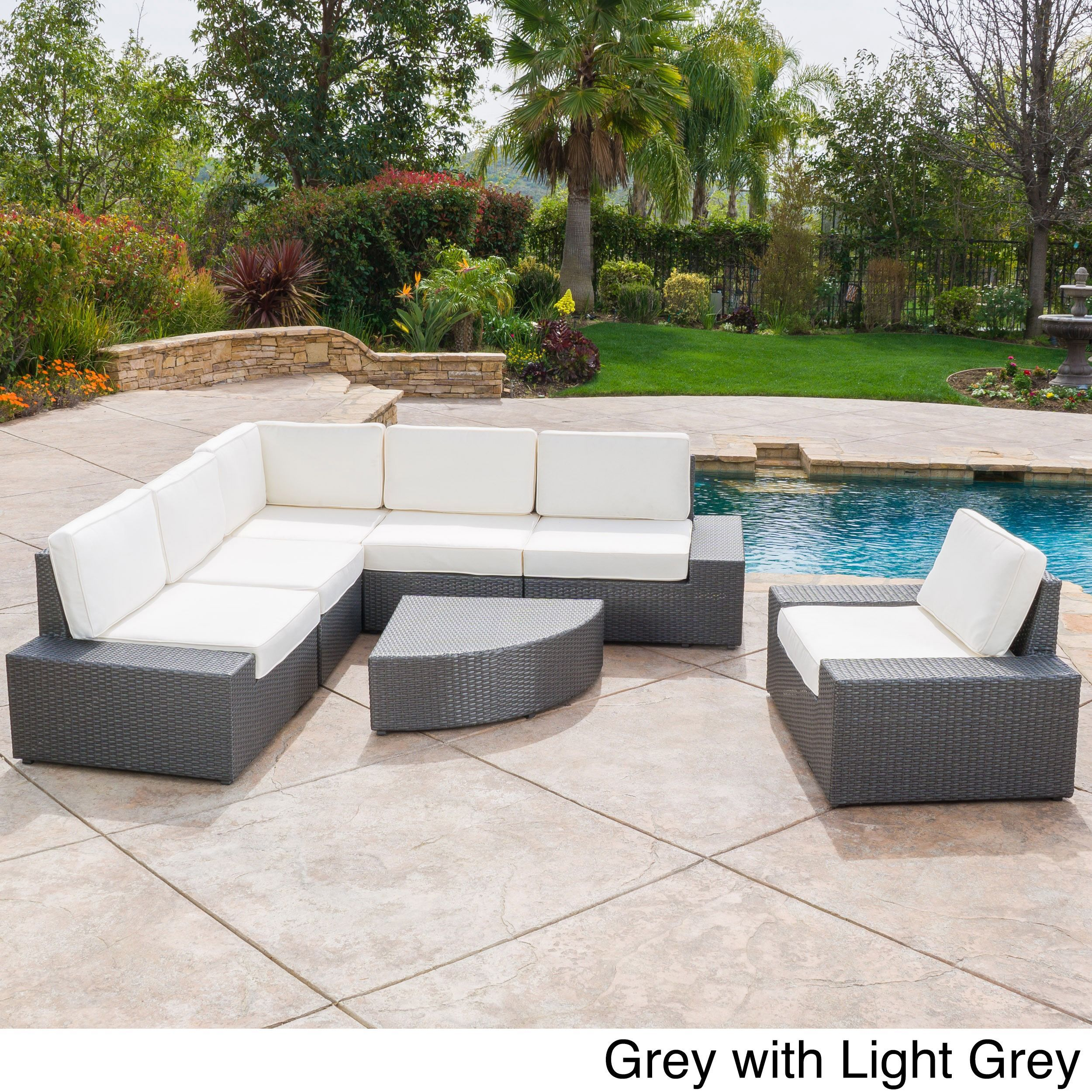 Santa Cruz Outdoor 7 Piece Wicker Sofa Set With Cushions By Christopher  Knight Home (Grey With Light Grey), Size 7 Piece Sets, Patio Furniture  (Fabric)