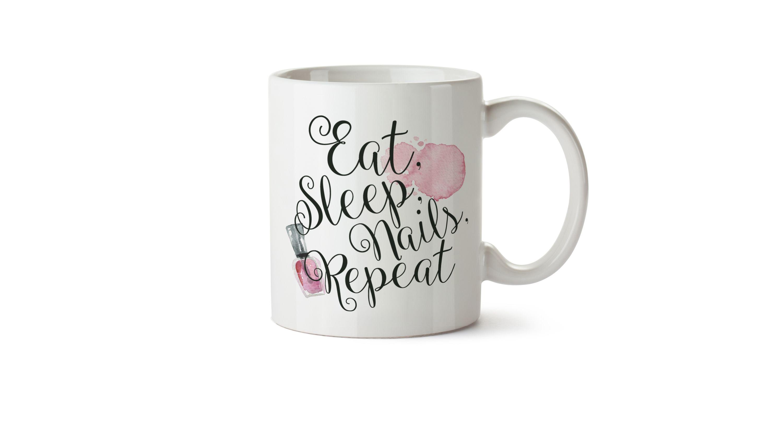 Eat, sleep, nails, repeat mug, nail art ideas, nail art gift ideas ...